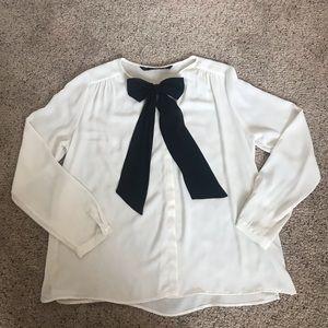 Zara Cream blouse with black bow